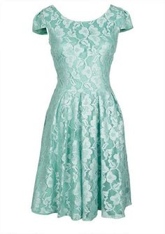 $60 Mint Lace Cap sleeve dress. V Backline. Back Zipper. Poly Rayon Spandex