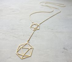 Long Geodesic Necklace Geometric necklace signature necklace Architectural jewelry (77.00 USD) by shlomitofir