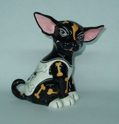 "WhimsiClay ""Killer"", cute  WhimsiClay Chihuahua dog  free pin animal charity"