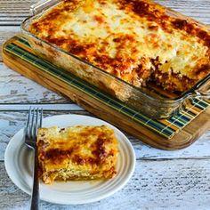 Low-Carb Mock Lasagna Spaghetti Squash Casserole (Gluten-Free) Recipe Main Dishes with spaghetti squash, olive oil, herbs, olive oil, Italian turkey sausage, marinara sauce, dried basil, herbs, garlic powder, cottage cheese, eggs, herbs, mozzarella cheese, grated parmesan cheese