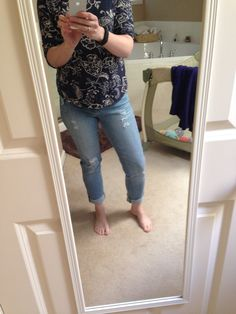 1st StitchFix - JEANS - kinda cute.  I am just not sold on the holes.  Worried they will get bigger quickly..even though I am sure it's a very current look!!  And the size fit comfortably now - and I worry they will stretch and be too big??  Kutz jeans...?