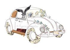 VW Beetle Bug car  Ink & collage illustration by lynseyhunter, $20.00