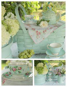 Aiken House & Gardens , love the mint green!