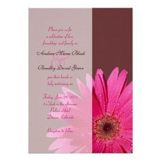 Brown & Pink Gerbera Daisy Wedding Invitation Yes I can say you are on right site we just collected best shopping store that haveThis Deals          Brown & Pink Gerbera Daisy Wedding Invitation today easy to Shops & Purchase Online - transferred directly secure and trusted c...