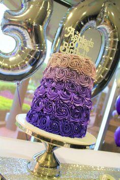 Purple ombré buttercream rosette 30th birthday cake