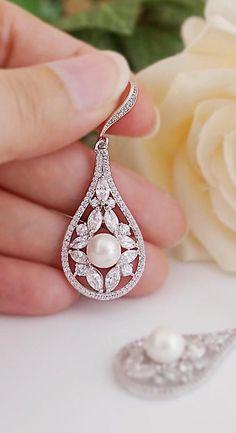 Luxury Cubic Zirconia Dangle Bridal Earrings from EarringsNation CZ and Pearl Earrings