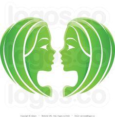 Green Gemini Zodiac Sign Logo Tattoo Design