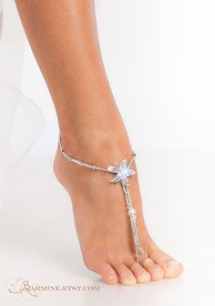 Starfish foot jewelry, Silver Beaded barefoot sandals, Bridal accessory, Beach wedding, Foot thong, Beach sandals, Foot jewelry-Slave anklet
