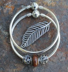 PANDORA Bangles with Tumbling Leaves and Wooden Charm with Feather Necklace Pendant.