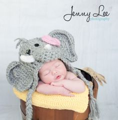 Girl Elephant Hat Photo Prop Baby Elephant Hat by JojosBootique
