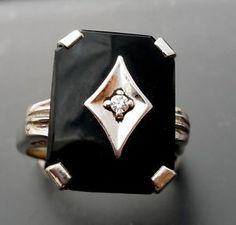 Antique Black Onyx 14k Gold Ring Diamond White Gold Size 6 Art Deco 4 4 GRS | eBay