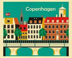 Copenhagen Print Kopenhaven Skyline Copenhagen Wall by LoosePetals