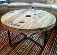 Spool table with pipe legs