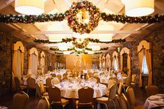 Winter Wedding at Ballymagarvey Village Wedding Reception, Our Wedding, Wedding Venues, Beautiful Christmas, Christmas Wedding, Christmas Themes, Chandelier, Wedding Photography, Ceiling Lights