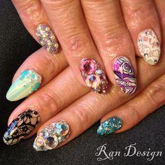 Spring Pucci Ran Kowatari   studded nails, long nails, rhinestones, florals, lace