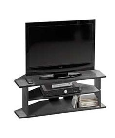 Large Corner TV Unit - Black Ash.