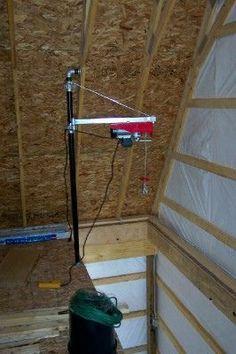 Simple hoist for upstairs/downstairs loads - The Garage Journal Board Garage Hoist, Garage Shed, Garage Tools, Diy Garage, Garage Workshop, Garage Ideas, Garage Storage Cabinets, Garage Organization, Workshop Organization