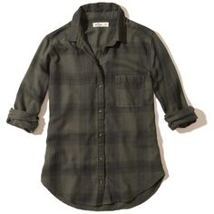 Hollister Button-Front Flannel Shirt (53 CAD) ❤ liked on Polyvore featuring tops, olive plaid, army green shirts, tartan plaid flannel shirt, shirt tops, olive green top and military green shirt