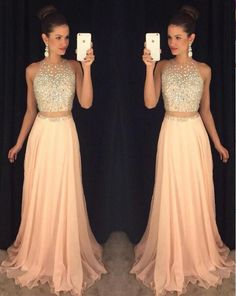 Blush Chiffon Prom Dresses,Sleeveless Long Prom Dresses,2 Pieces Prom Dress,A Line Sexy Prom Dress on Luulla
