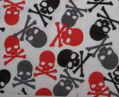 Fat Quarter Red Black Grey Skull & Crossbone on White Polycotton Quilting Fabric