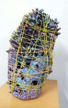 "TRASH ART Michael Craig Carrier  Ecological Trash Assemblage Artist  Wrapped Series #06 15"" x 9"" x 5""  Mixed Media  2013  Private Collection"