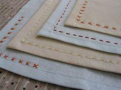 sewing 101: embroidered mitered napkins | Design*Sponge