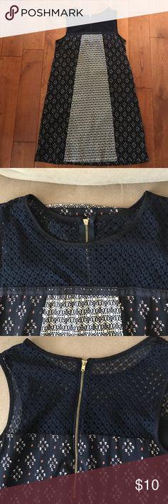 Target Dress This dress is no sleeves and very boho chic. It is comprised of various fabrics. The upper portion of the dress has see through navy lace as shown in the photo. The back zippers up. Xhilaration Dresses Mini