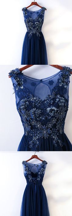 Only $118, Prom Dresses Long Navy Blue Tulle Prom Dress With Embroidery Sleeveless #MYX18074 at #GemGrace. View more special Prom Dresses now? GemGrace is a solution for those who want to buy delicate gowns with affordable prices, a solution for those who have unique ideas about their gowns. 2018 new arrivals, shop now to get $10 off!