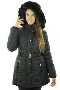 50% OFF SALE PRICE - $79.99 - Sportoli Women's Longer Length Belted Winter Puffer Coat with Plush Lined Hood