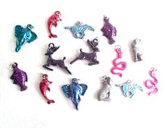 SOLD...Tiny Animals Vintage Charms - Elephant Head, Leaping Deer, Running Mustang Horse, Fish, Dolphin, Sitting Cat, Snake - Bright Color Metal by IrrenaysTreasures on Etsy