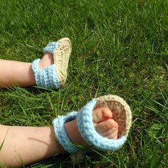 Blue and Tan Baby Sandals by AbigailsAttic112 on Etsy, $12.00