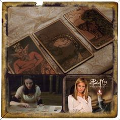 """Awesome Tarot Card artistic interpretations used by Drusilla, the insane psychic vampire, in the best television series ever, Buffy the Vampire Slayer. """"In late 1997, the vampire Spike summoned the Order of Taraka to hunt down Buffy Summers, the Slayer, so she would not interfere in his attempt to restore the health of his lover Drusilla. Dru's tarot cards predicted the coming of three assassins.""""  #buffythevampireslayer #drusilla #spike #buffysummers #insanepsychicvampire"""
