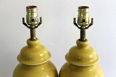 Vintage Pair of Yellow Ginger Lamps by WestRiverBazaar on Etsy, $100.00