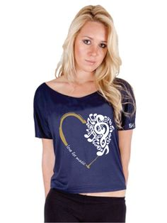 "54th Grammy Womens ""Love"" Off Shoulder T-shirt - Navy"