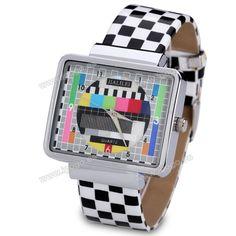 Display elegante reloj analógico con mujeres rectángulo marcado a cuadros correa de cuero para Vender - La Tienda En Online IGOGO.ES