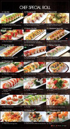 Fusion Sushi Japanese Restaurants - Manhattan Beach and Long Beach in California Sushi Menu, Sushi Party, Ramen Comida, Sushi Guide, Sushi Roll Recipes, Japanese Food Sushi, Types Of Sushi, Homemade Sushi, Exotic Food