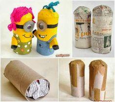 ARTE COM QUIANE - Paps,Moldes,E.V.A,Feltro,Costuras,Fofuchas 3D: Minion feito de rolo de papel higienico