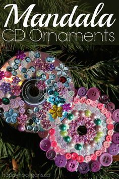 Mandala CD Ornaments - have the kids turn your old, scratched cds and dvds into beautiful mandala decorations for the Christmas tree.  A calm, relaxing art project for art class, craft camp or as a party activity.  Great for toddlers, preschoolers and older kids too!  -Happy Hooligans
