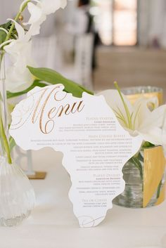 Africa Shaped Wedding Menu Card | Credit: Tasha Seccombe