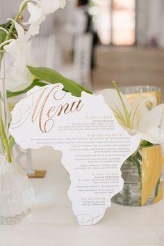 Africa Shaped Wedding Menu Card   Credit: Tasha Seccombe