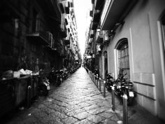 #alley #black and white #black and white #city #monochrome #motorcycles #pavement #road #street