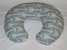 Custom Quality Hand Made Boppy Cover    Perfect fit. 100% cotton, and 100% minky.  Arrow print on one side/ revers minky ( white, grey, navy