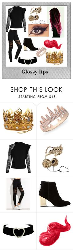 """""""Glossy lip queen"""" by lindsey-mw ❤ liked on Polyvore featuring beauty, Polaroid, Anne Sisteron, self-portrait, Dolce&Gabbana, Steve Madden and Bobbi Brown Cosmetics"""