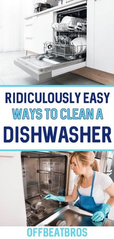How To Clean A Dishwasher! Try this easy cleaning hack to deep clean your dishwasher without having to scrub! Cleaning Your Dishwasher, Household Cleaning Tips, Diy Cleaning Products, Deep Cleaning, Spring Cleaning, Cleaning Hacks, Apartment Cleaning, Bathroom Cleaning, Kitchen Cleaning