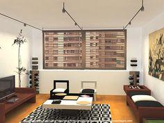 modern minimalist furniture - living room black white - low seating table geometric carpet artistic wall art
