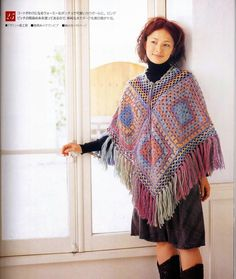 Granny poncho ♥LC♥ with diagrams Crochet Granny, Irish Crochet, Crochet Stitches, Crochet Hooks, Knit Crochet, Crochet Patterns, Crochet Jacket, Knitted Poncho, Knitted Shawls