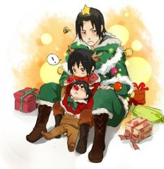 Look Sasuke, Papa is a Christmas tree. Fugaku, Itachi and Sasuke