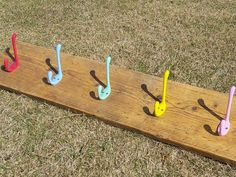 Industrial Style Reclaimed Scaffold Board Children's Coat Hook / Rack with Coloured Hooks Childrens Coat Hooks, Scaffold Boards, Hook Rack, Reclaimed Timber, Red Blue Green, Kids Coats, Scaffolding, Furniture Making, Steel Frame