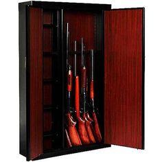 American Furniture Classics 16 Gun Metal Cabinet - Home Furniture Design Gun Storage, Tall Cabinet Storage, Solid Wood Cabinets, Metal Cabinets, Gun Cabinets, Home Furniture, Furniture Design, Tactical Gear, Adjustable Shelving