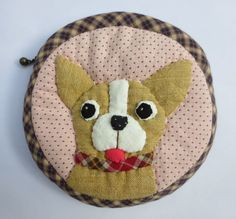 quilt applique Chihuahua dog fabric wallet pocket coin pouch purse mini bag #Handmade #coinpurse
